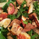 fried halloumi salad recipe with lemon and honey dressing