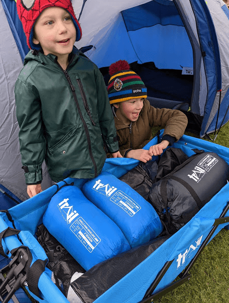 folding trolley for family tent trip